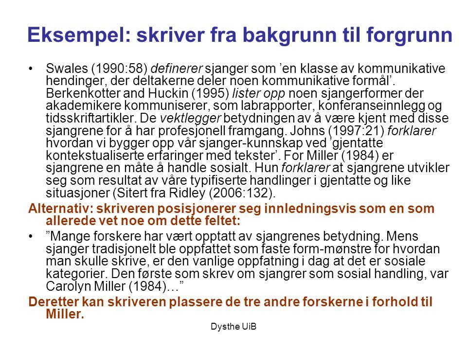 Dysthe UiB Eksempel: skriver fra bakgrunn til forgrunn •Swales (1990:58) definerer sjanger som 'en klasse av kommunikative hendinger, der deltakerne d