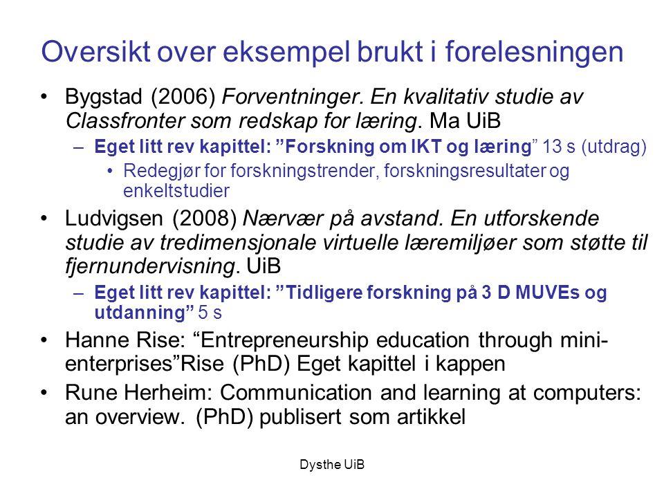 Dysthe UiB Oversikt over eksempel brukt i forelesningen •Bygstad (2006) Forventninger. En kvalitativ studie av Classfronter som redskap for læring. Ma
