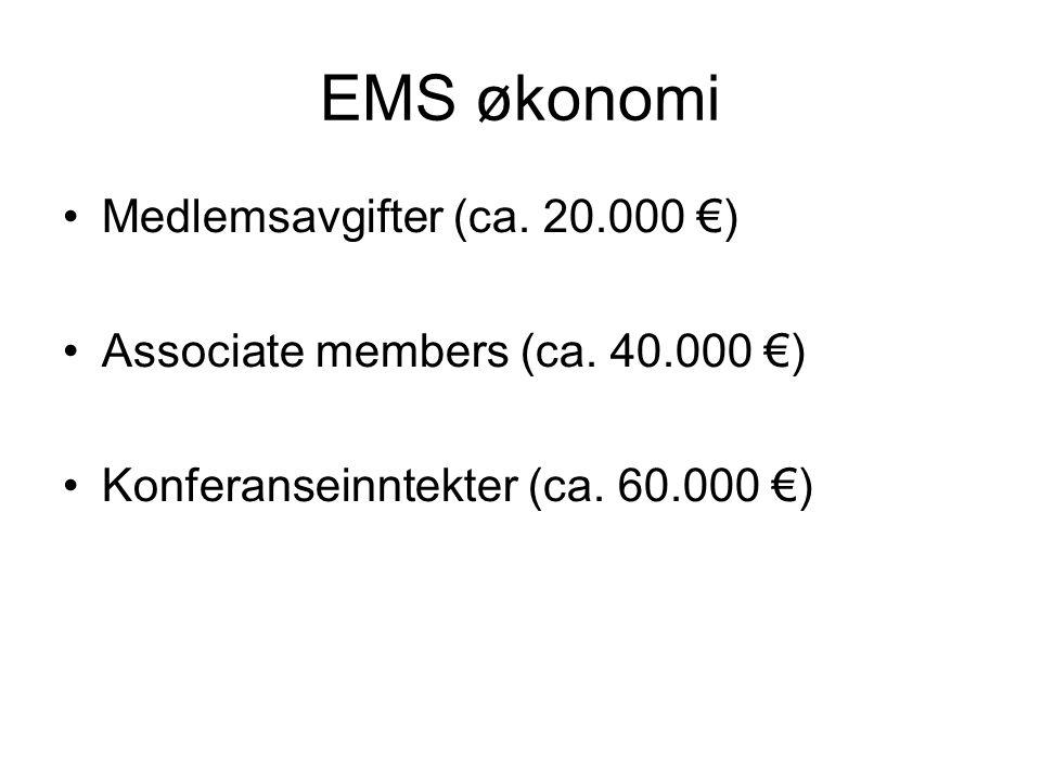 EMS økonomi •Medlemsavgifter (ca. 20.000 €) •Associate members (ca.