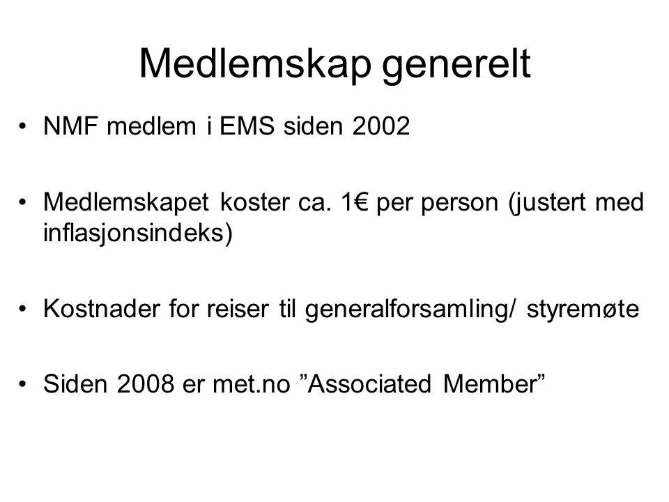 Medlemskap generelt •NMF medlem i EMS siden 2002 •Medlemskapet koster ca.