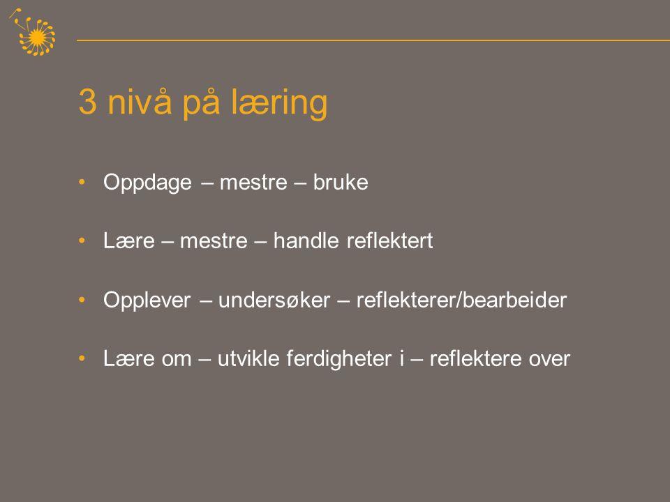 3 nivå på læring •Oppdage – mestre – bruke •Lære – mestre – handle reflektert •Opplever – undersøker – reflekterer/bearbeider •Lære om – utvikle ferdigheter i – reflektere over