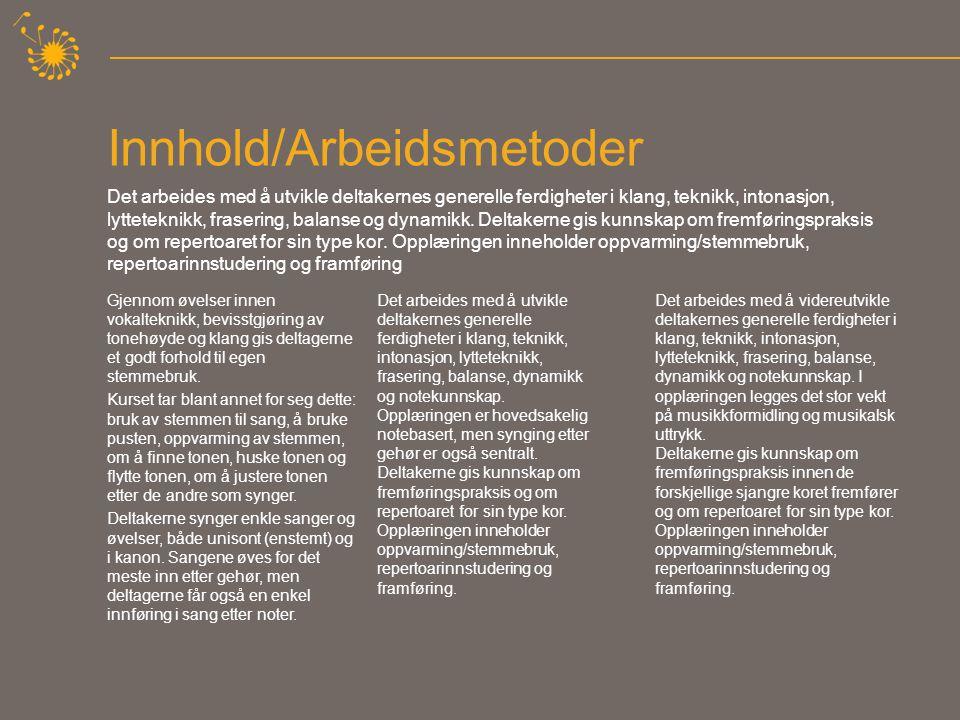 Innhold/Arbeidsmetoder Det arbeides med å utvikle deltakernes generelle ferdigheter i klang, teknikk, intonasjon, lytteteknikk, frasering, balanse og dynamikk.