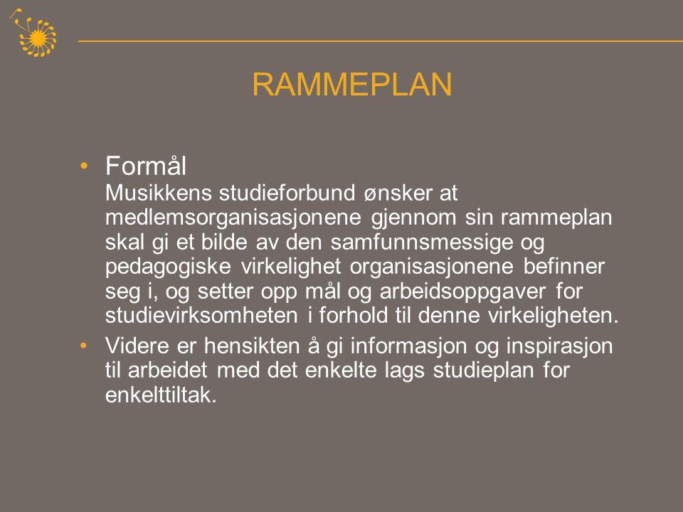 RAMMEPLAN •Formål Musikkens studieforbund ønsker at medlemsorganisasjonene gjennom sin rammeplan skal gi et bilde av den samfunnsmessige og pedagogiske virkelighet organisasjonene befinner seg i, og setter opp mål og arbeidsoppgaver for studievirksomheten i forhold til denne virkeligheten.
