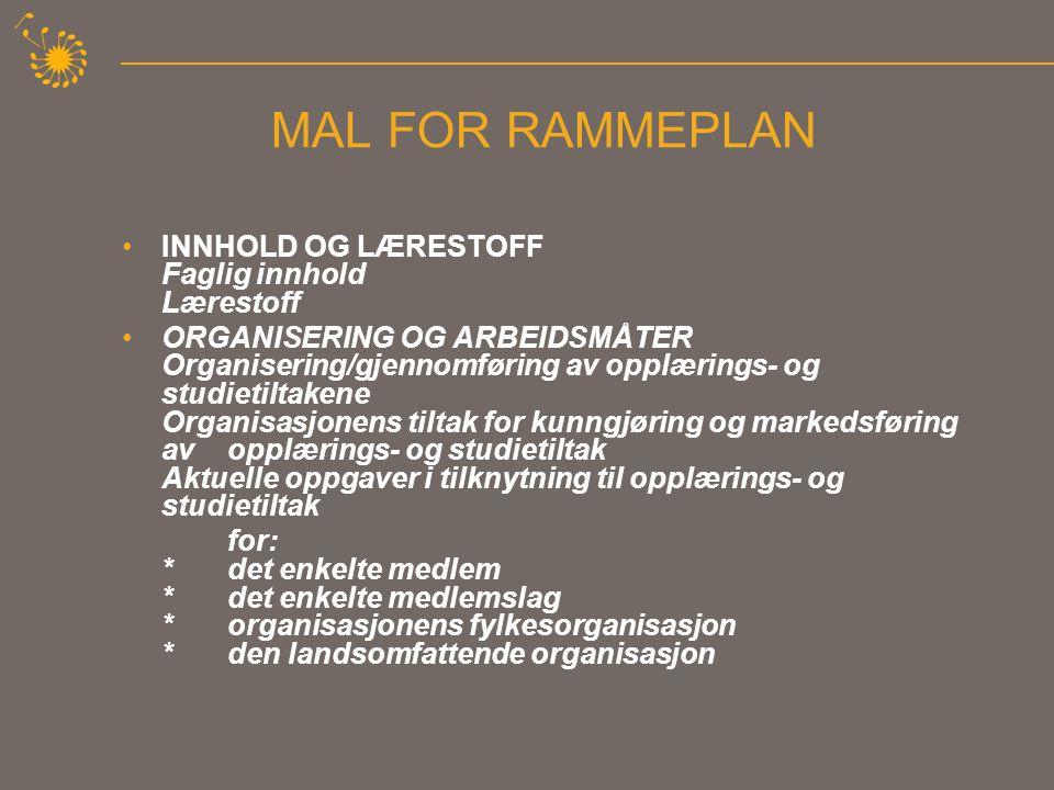 MAL FOR RAMMEPLAN •SAMARBEID OG SAMHANDLING Oppgaver som krever samhandling og samarbeid med andre: * organisasjoner *offentlige institusjoner *kommune, fylkeskommune og stat *internasjonalt engasjement