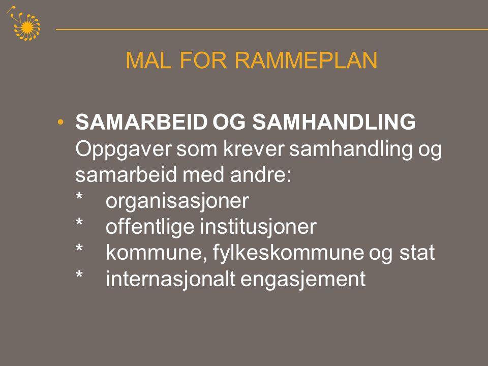MAL FOR RAMMEPLAN •UTVIKLINGSARBEID Utviklingsarbeid Selve arbeidet med organisasjonens rammeplan og det enkelte lags opplæringsplan er et kontinuerlig utviklingsarbeid.