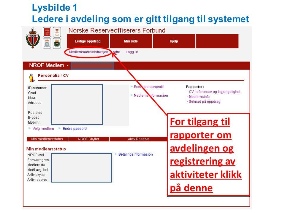For tilgang til rapporter om avdelingen og registrering av aktiviteter klikk på denne Lysbilde 1 Ledere i avdeling som er gitt tilgang til systemet