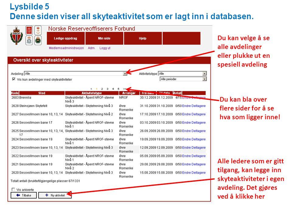 Lysbilde 5 Denne siden viser all skyteaktivitet som er lagt inn i databasen.