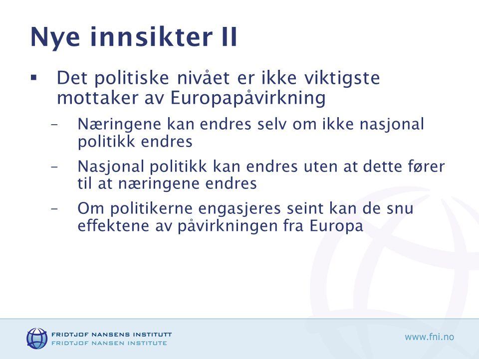 Nye innsikter II  Det politiske nivået er ikke viktigste mottaker av Europapåvirkning –Næringene kan endres selv om ikke nasjonal politikk endres –Nasjonal politikk kan endres uten at dette fører til at næringene endres –Om politikerne engasjeres seint kan de snu effektene av påvirkningen fra Europa