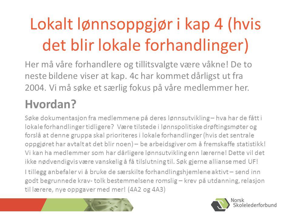 Lokalt lønnsoppgjør i kap 4 (hvis det blir lokale forhandlinger) Her må våre forhandlere og tillitsvalgte være våkne.