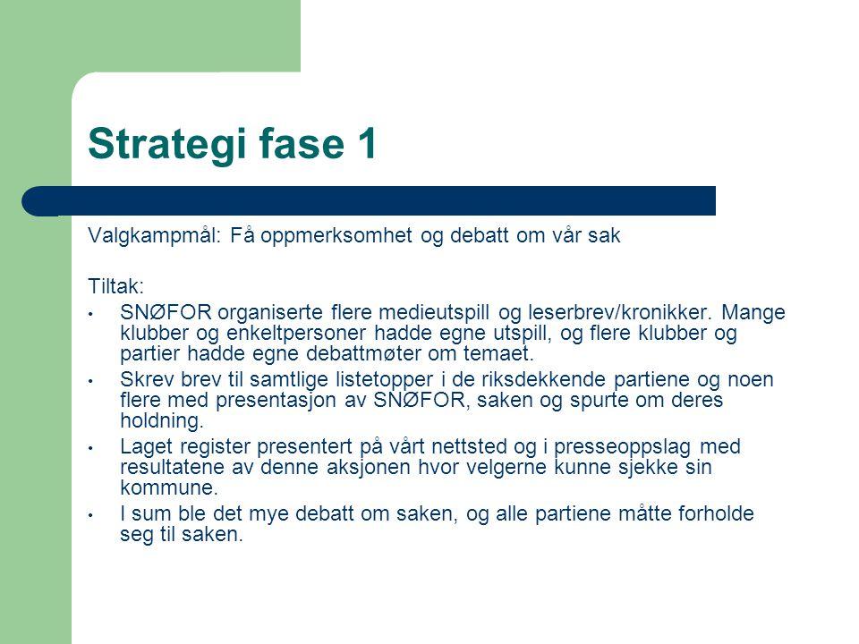 Strategi fase 1 Valgkampmål: Få oppmerksomhet og debatt om vår sak Tiltak: • SNØFOR organiserte flere medieutspill og leserbrev/kronikker.