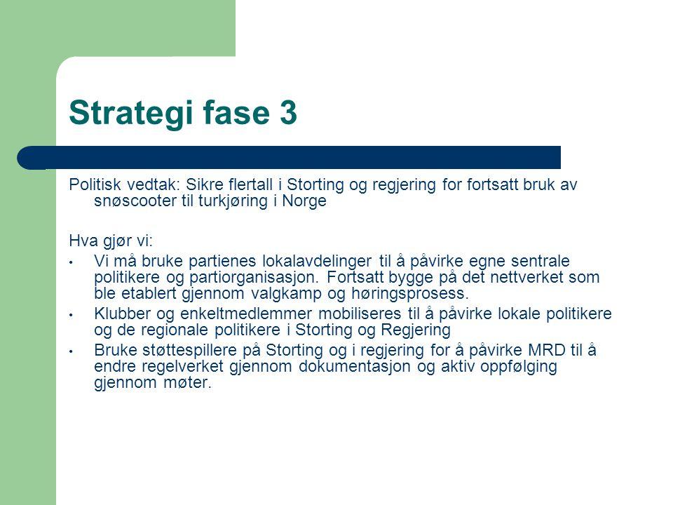 Strategi fase 3 Politisk vedtak: Sikre flertall i Storting og regjering for fortsatt bruk av snøscooter til turkjøring i Norge Hva gjør vi: • Vi må bruke partienes lokalavdelinger til å påvirke egne sentrale politikere og partiorganisasjon.