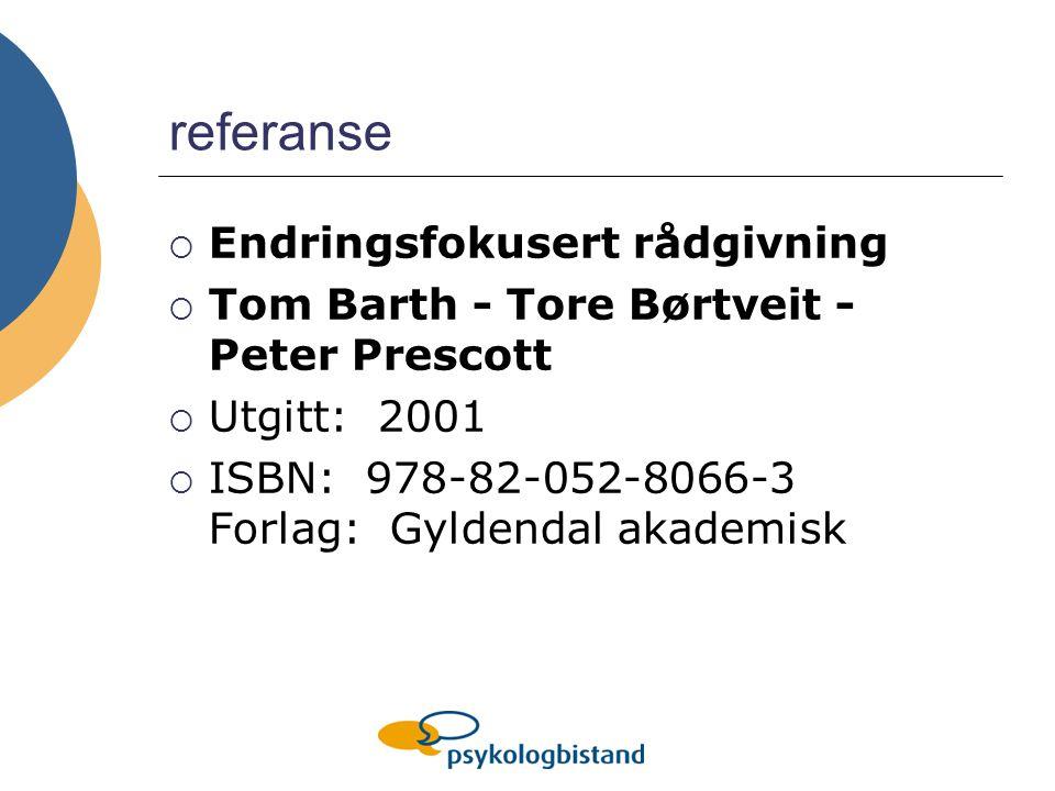 referanse  Endringsfokusert rådgivning  Tom Barth - Tore Børtveit - Peter Prescott  Utgitt: 2001  ISBN: 978-82-052-8066-3 Forlag: Gyldendal akademisk