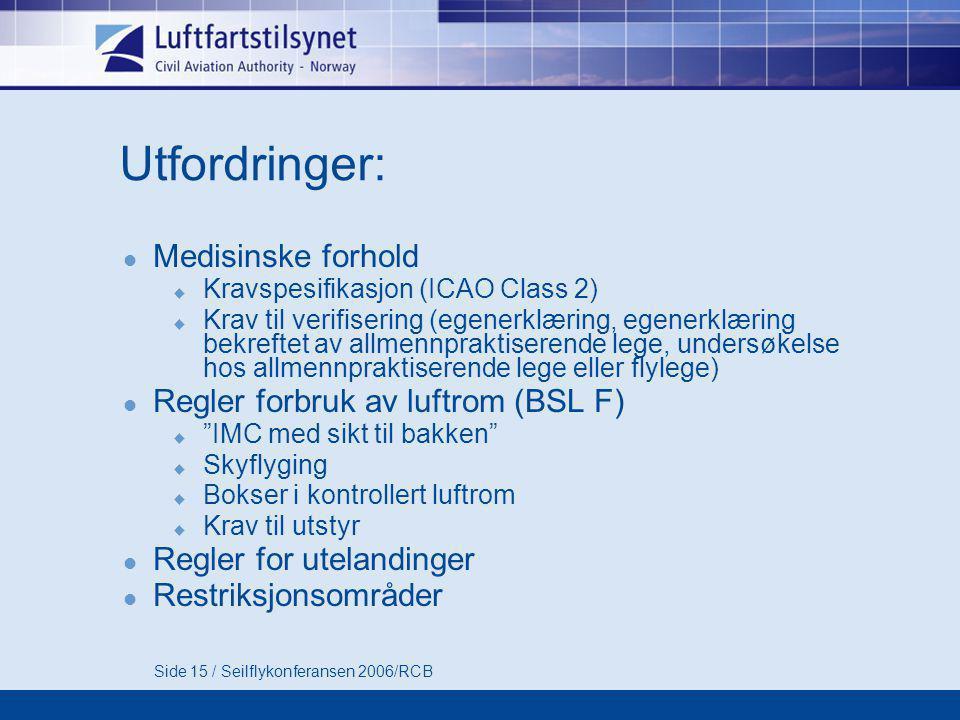 Side 15 / Seilflykonferansen 2006/RCB Utfordringer:  Medisinske forhold  Kravspesifikasjon (ICAO Class 2)  Krav til verifisering (egenerklæring, egenerklæring bekreftet av allmennpraktiserende lege, undersøkelse hos allmennpraktiserende lege eller flylege)  Regler forbruk av luftrom (BSL F)  IMC med sikt til bakken  Skyflyging  Bokser i kontrollert luftrom  Krav til utstyr  Regler for utelandinger  Restriksjonsområder
