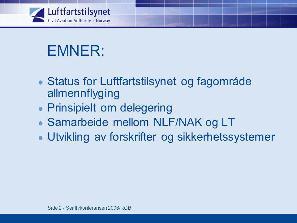 Side 2 / Seilflykonferansen 2006/RCB EMNER:  Status for Luftfartstilsynet og fagområde allmennflyging  Prinsipielt om delegering  Samarbeide mellom