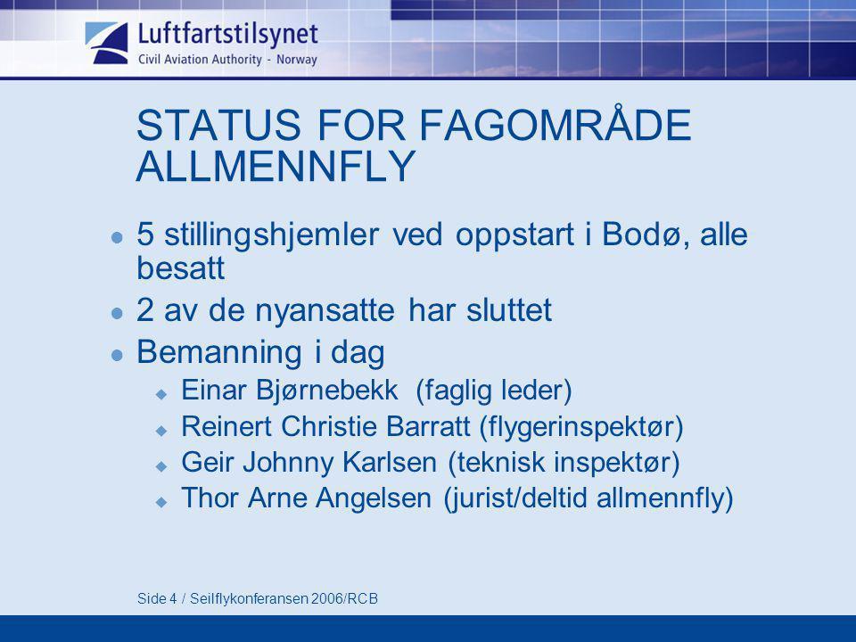 Side 4 / Seilflykonferansen 2006/RCB STATUS FOR FAGOMRÅDE ALLMENNFLY  5 stillingshjemler ved oppstart i Bodø, alle besatt  2 av de nyansatte har slu