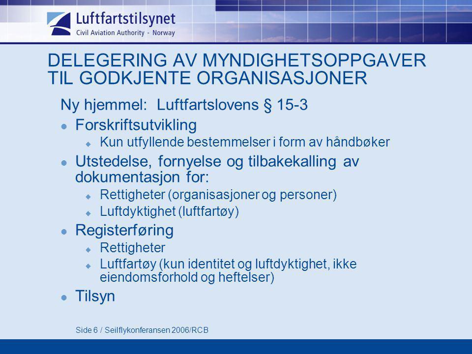 Side 6 / Seilflykonferansen 2006/RCB DELEGERING AV MYNDIGHETSOPPGAVER TIL GODKJENTE ORGANISASJONER Ny hjemmel: Luftfartslovens § 15-3  Forskriftsutvi