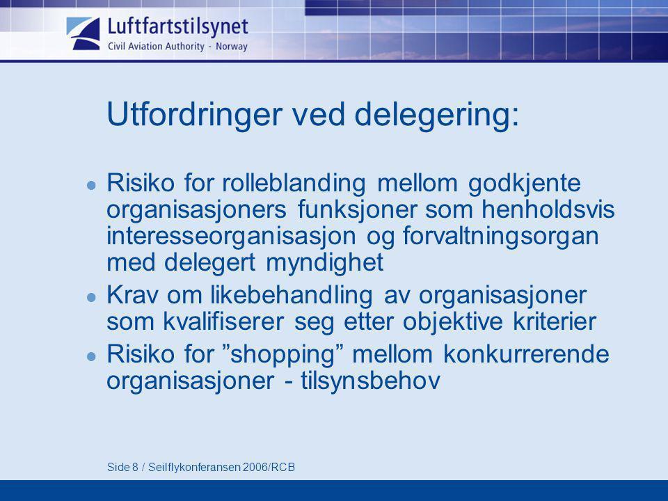 Side 8 / Seilflykonferansen 2006/RCB Utfordringer ved delegering:  Risiko for rolleblanding mellom godkjente organisasjoners funksjoner som henholdsv