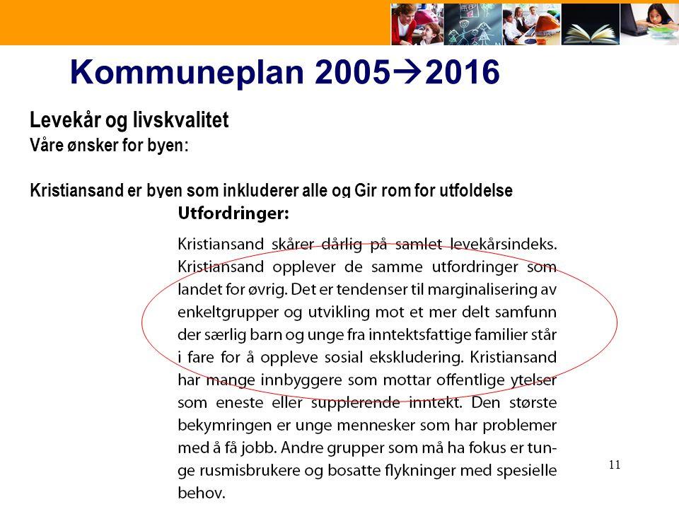 11 Kommuneplan 2005  2016 Levekår og livskvalitet Våre ønsker for byen: Kristiansand er byen som inkluderer alle og Gir rom for utfoldelse