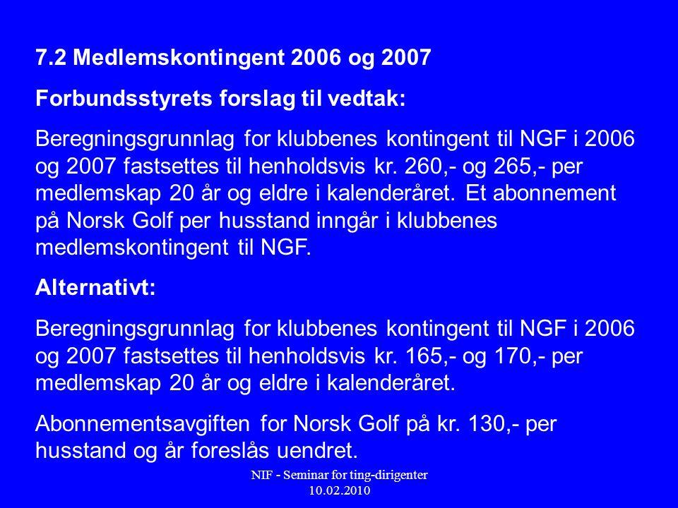 NIF - Seminar for ting-dirigenter 10.02.2010 7.2 Medlemskontingent 2006 og 2007 Forbundsstyrets forslag til vedtak: Beregningsgrunnlag for klubbenes kontingent til NGF i 2006 og 2007 fastsettes til henholdsvis kr.
