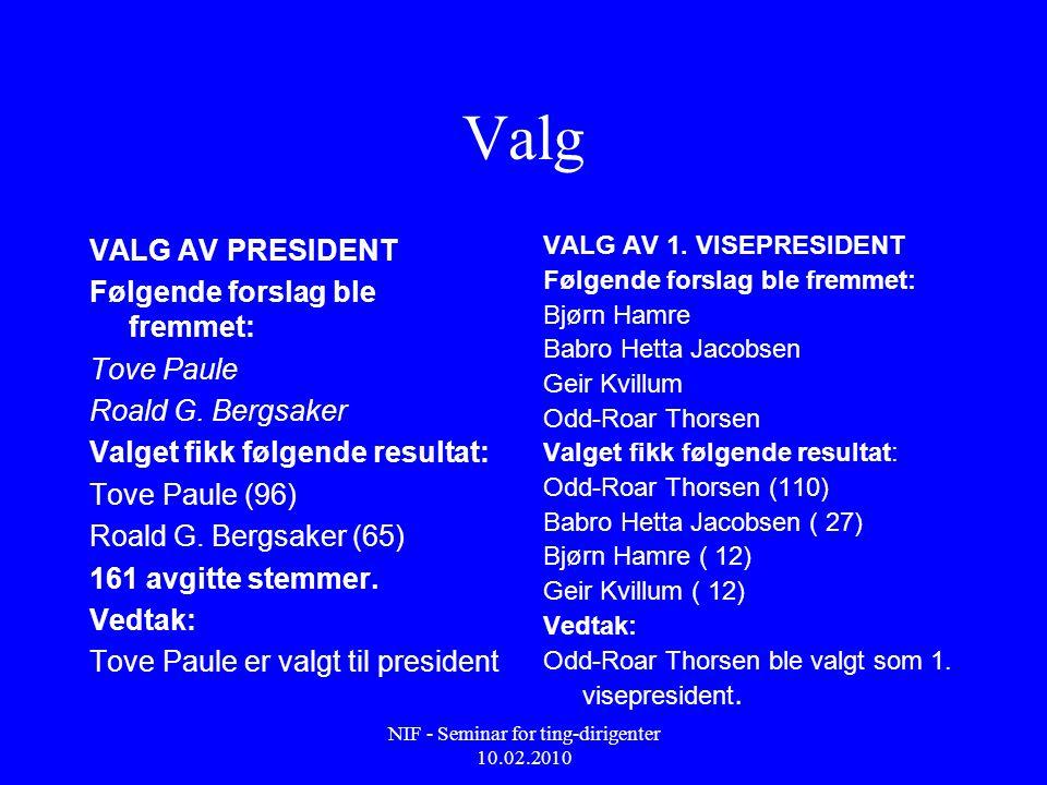 NIF - Seminar for ting-dirigenter 10.02.2010 Valg VALG AV PRESIDENT Følgende forslag ble fremmet: Tove Paule Roald G. Bergsaker Valget fikk følgende r