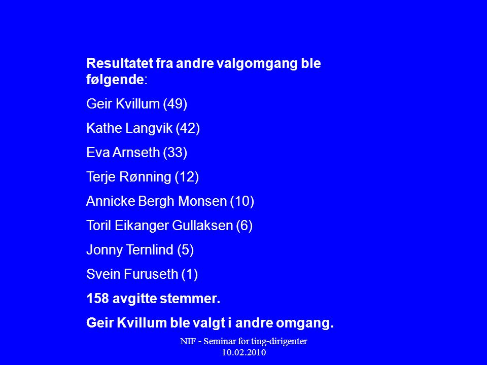 NIF - Seminar for ting-dirigenter 10.02.2010 Resultatet fra andre valgomgang ble følgende: Geir Kvillum (49) Kathe Langvik (42) Eva Arnseth (33) Terje Rønning (12) Annicke Bergh Monsen (10) Toril Eikanger Gullaksen (6) Jonny Ternlind (5) Svein Furuseth (1) 158 avgitte stemmer.