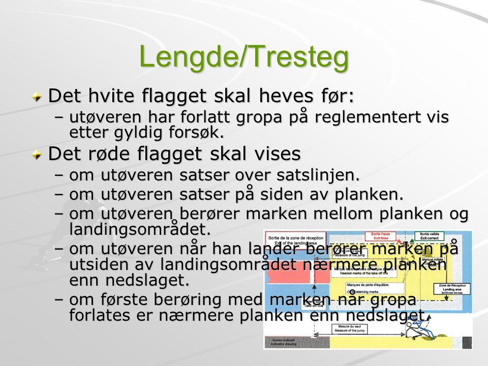 Lengde/Tresteg Det hvite flagget skal heves før: –utøveren har forlatt gropa på reglementert vis etter gyldig forsøk. Det røde flagget skal vises –om