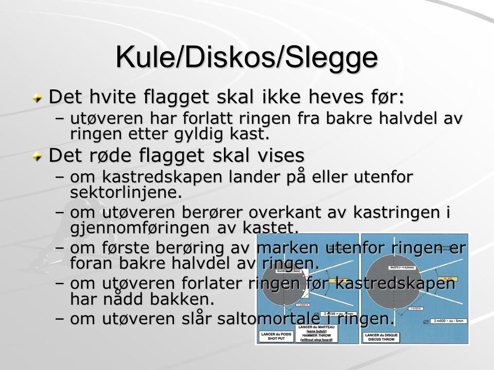 Kule/Diskos/Slegge Det hvite flagget skal ikke heves før: –utøveren har forlatt ringen fra bakre halvdel av ringen etter gyldig kast. Det røde flagget
