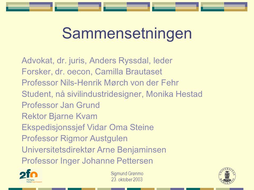 Sigmund Grønmo 23. oktober 2003 Sammensetningen Advokat, dr.