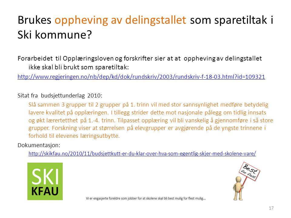 Brukes oppheving av delingstallet som sparetiltak i Ski kommune.