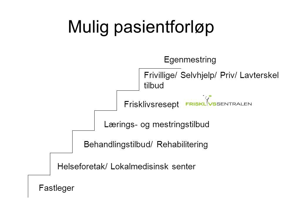 Mulig pasientforløp Lærings- og mestringstilbud Frisklivsresept Frivillige/ Selvhjelp/ Priv/ Lavterskel tilbud Fastleger Egenmestring Helseforetak/ Lo