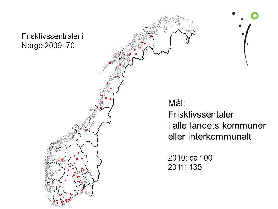 | Hjerterehabiliteringsseminar Feiringklinikken | 16 Frisklivssentraler i Norge 2009: 70 Mål: Frisklivssentaler i alle landets kommuner eller interkommunalt 2010: ca 100 2011: 135