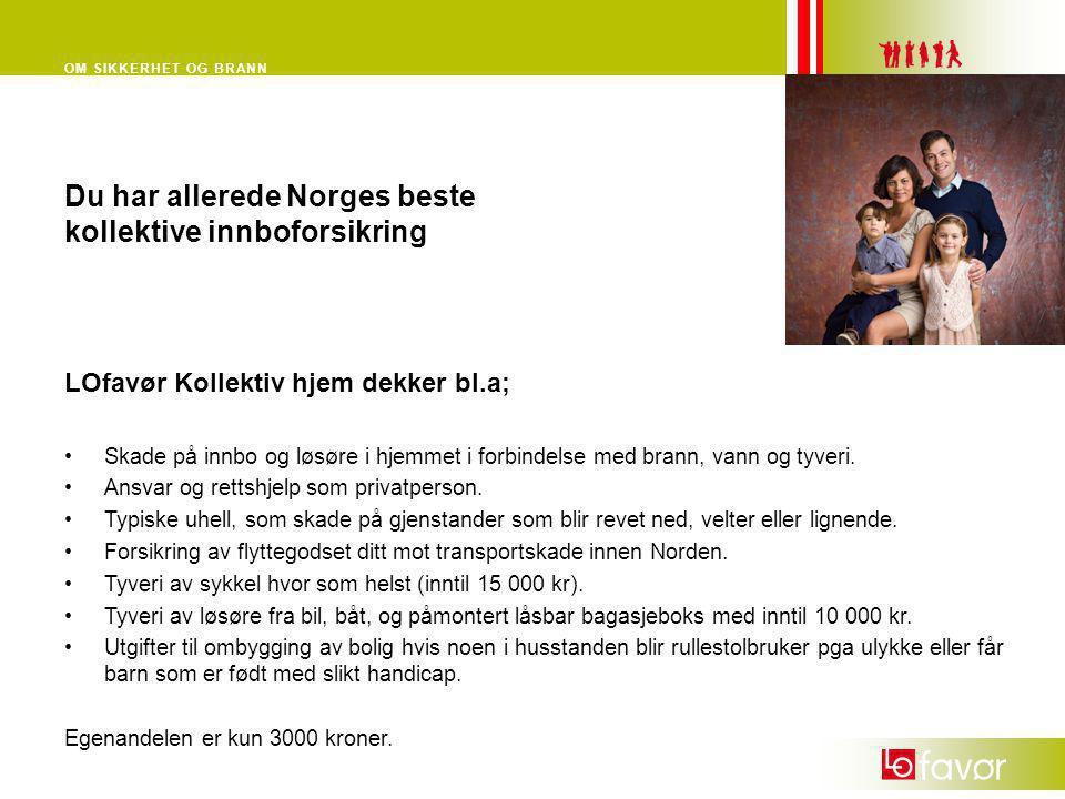 OM SIKKERHET OG BRANN Du har allerede Norges beste kollektive innboforsikring LOfavør Kollektiv hjem dekker bl.a; •Skade på innbo og løsøre i hjemmet