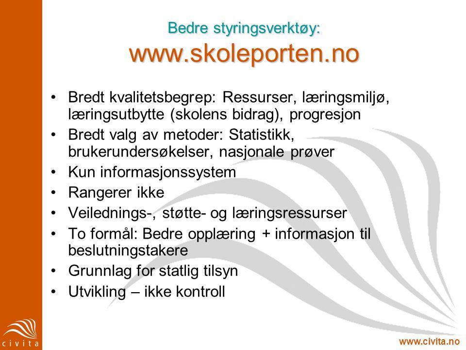 www.civita.no Bedre styringsverktøy: www.skoleporten.no •Bredt kvalitetsbegrep: Ressurser, læringsmiljø, læringsutbytte (skolens bidrag), progresjon •