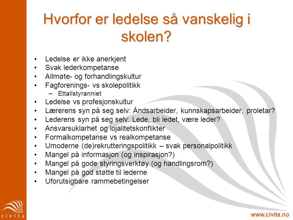www.civita.no Hvorfor er ledelse så vanskelig i skolen? •Ledelse er ikke anerkjent •Svak lederkompetanse •Allmøte- og forhandlingskultur •Fagforenings