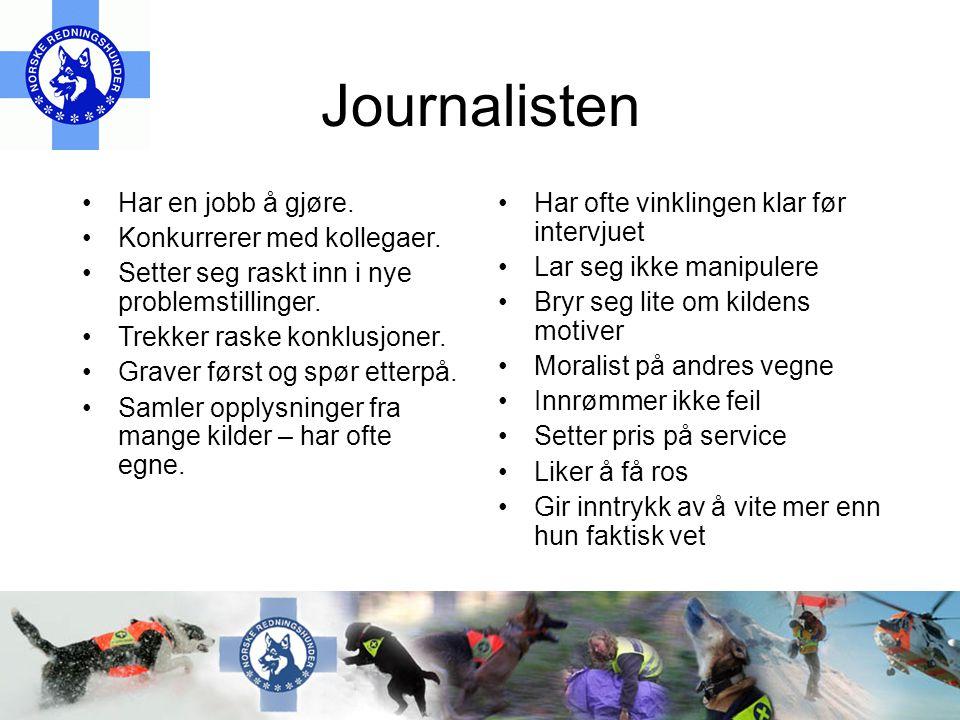 Journalisten •Har en jobb å gjøre.•Konkurrerer med kollegaer.