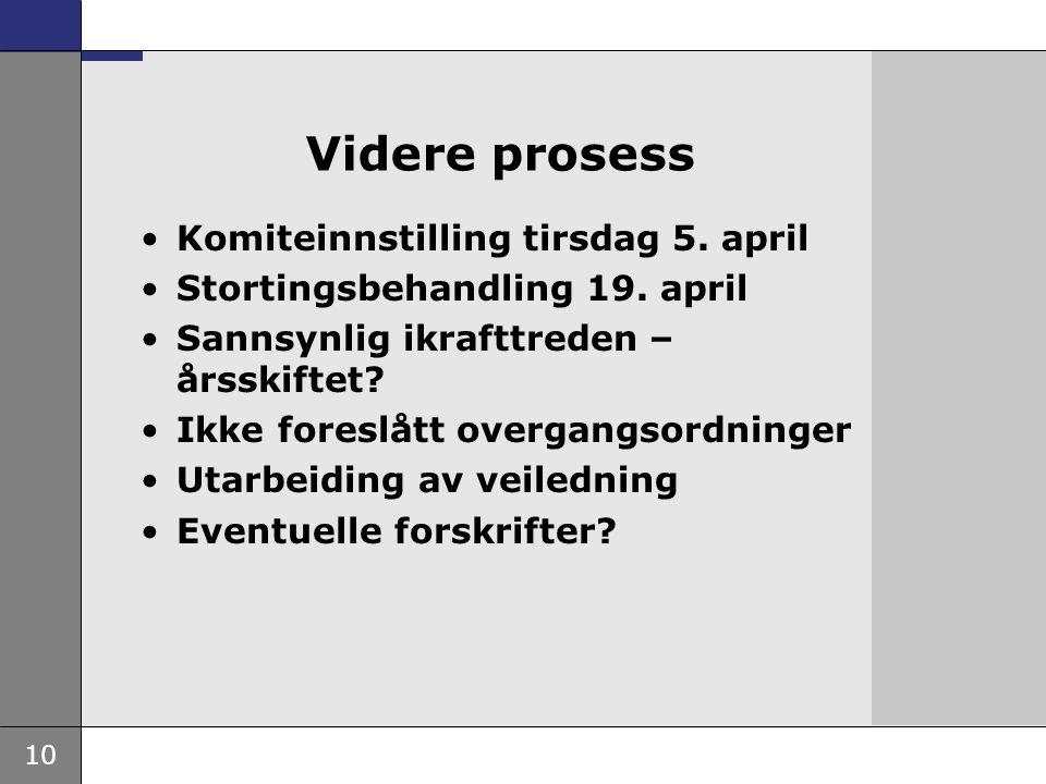 10 Videre prosess •Komiteinnstilling tirsdag 5. april •Stortingsbehandling 19. april •Sannsynlig ikrafttreden – årsskiftet? •Ikke foreslått overgangso