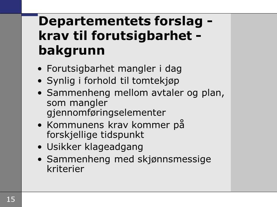 15 Departementets forslag - krav til forutsigbarhet - bakgrunn •Forutsigbarhet mangler i dag •Synlig i forhold til tomtekjøp •Sammenheng mellom avtale