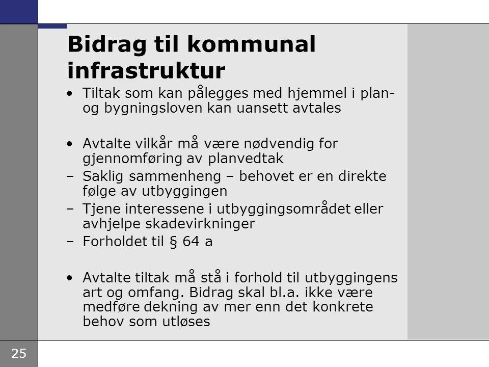 25 Bidrag til kommunal infrastruktur •Tiltak som kan pålegges med hjemmel i plan- og bygningsloven kan uansett avtales •Avtalte vilkår må være nødvend