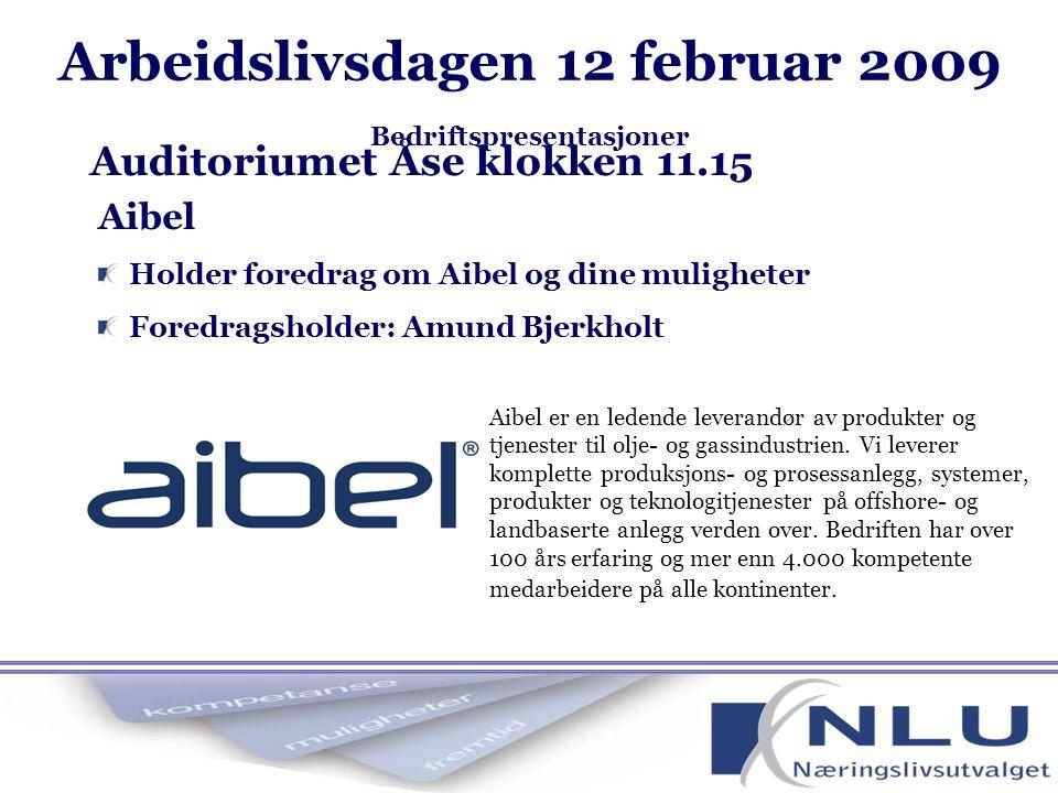 Aibel Holder foredrag om Aibel og dine muligheter Foredragsholder: Amund Bjerkholt Auditoriumet Åse klokken 11.15 Aibel er en ledende leverandør av produkter og tjenester til olje- og gassindustrien.