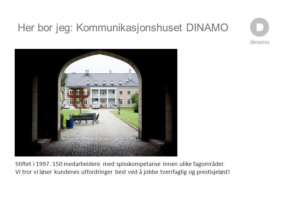 Her bor jeg: Kommunikasjonshuset DINAMO Stiftet i 1997.