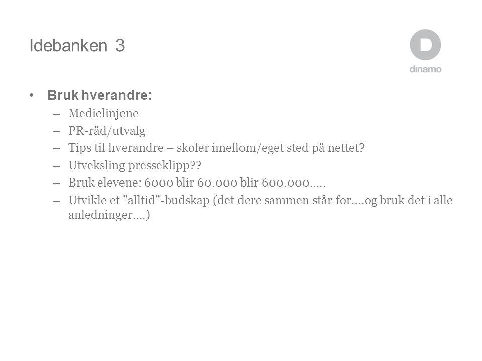 Idebanken 3 •Bruk hverandre: – Medielinjene – PR-råd/utvalg – Tips til hverandre – skoler imellom/eget sted på nettet.