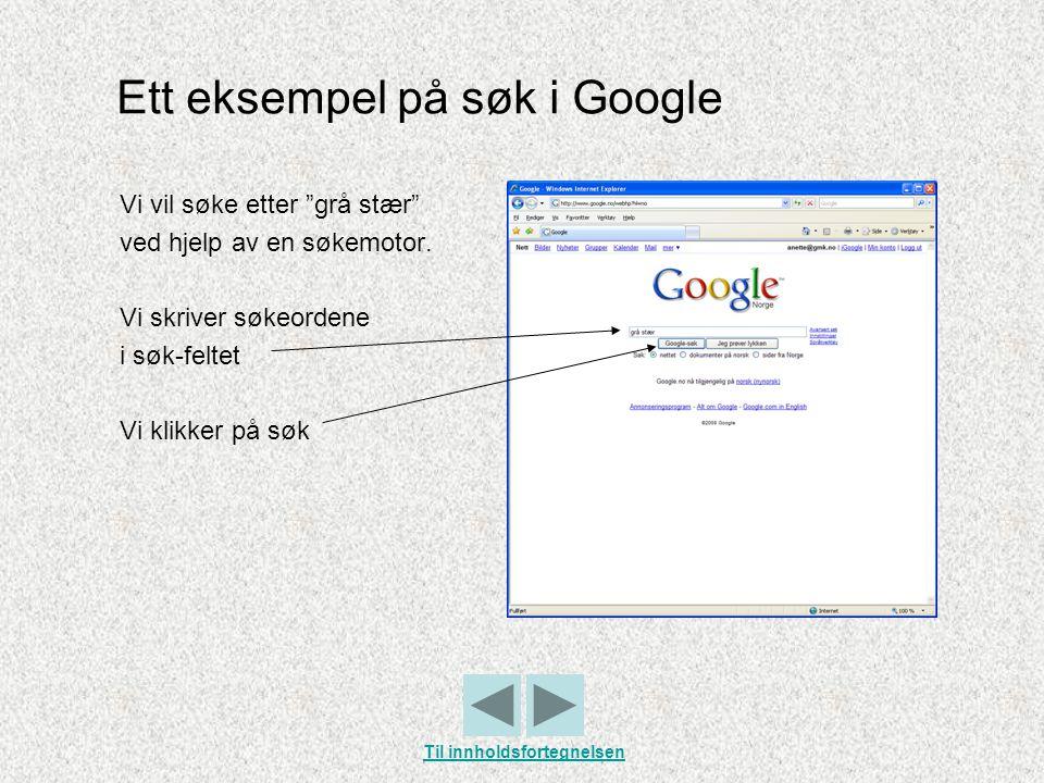 """Ett eksempel på søk i Google Vi vil søke etter """"grå stær"""" ved hjelp av en søkemotor. Vi skriver søkeordene i søk-feltet Vi klikker på søk Til innholds"""