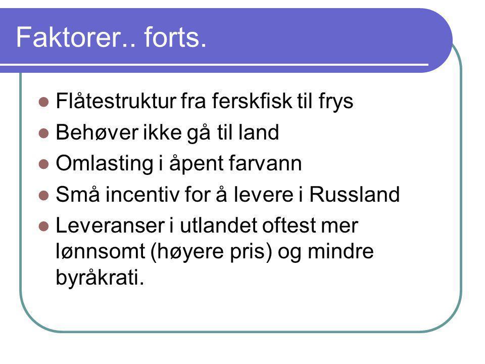 Faktorer.. forts.  Flåtestruktur fra ferskfisk til frys  Behøver ikke gå til land  Omlasting i åpent farvann  Små incentiv for å levere i Russland
