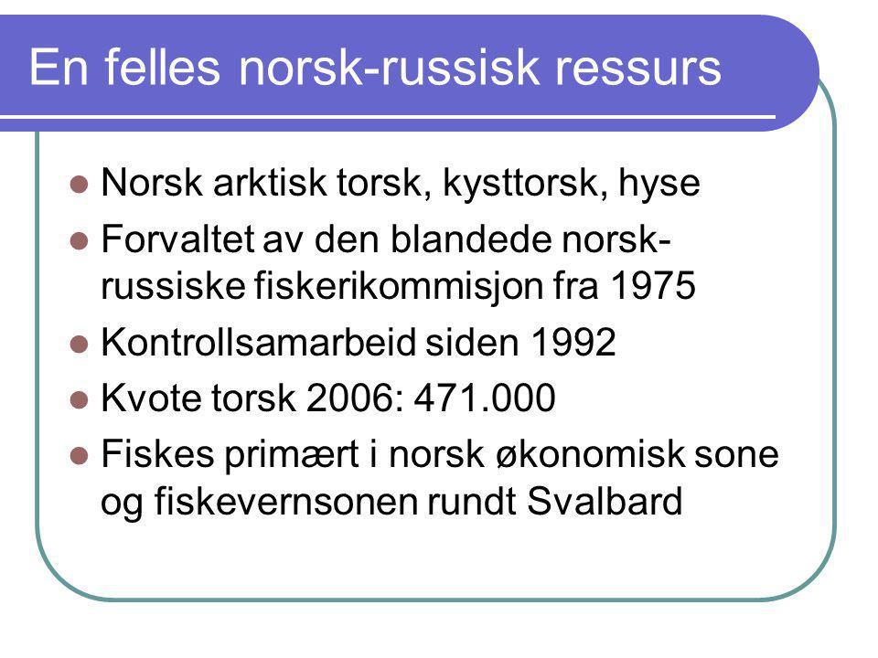En felles norsk-russisk ressurs  Norsk arktisk torsk, kysttorsk, hyse  Forvaltet av den blandede norsk- russiske fiskerikommisjon fra 1975  Kontrol