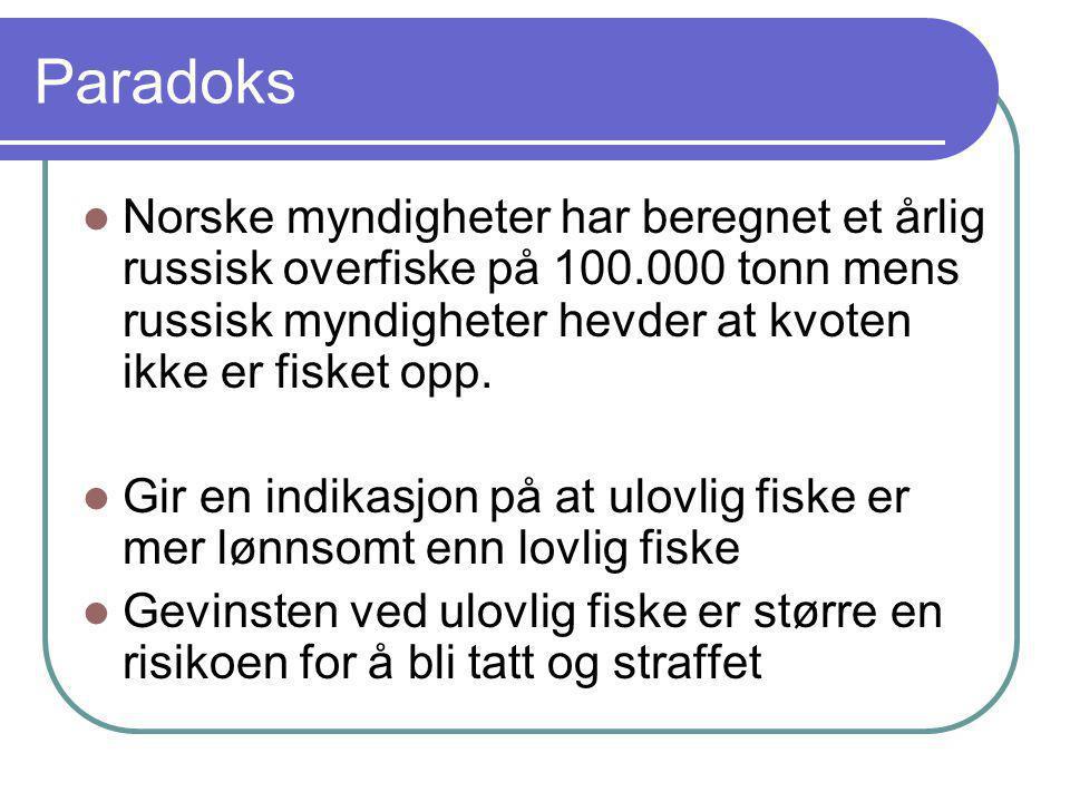 Paradoks  Norske myndigheter har beregnet et årlig russisk overfiske på 100.000 tonn mens russisk myndigheter hevder at kvoten ikke er fisket opp. 