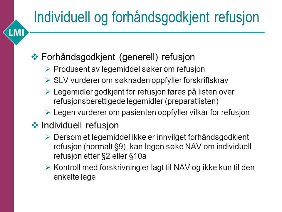 Departementets vurdering av individuell refusjon ift.