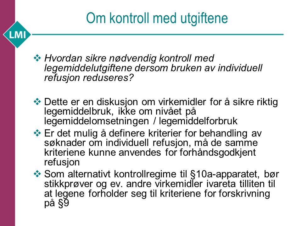 Om kontroll med utgiftene  Hvordan sikre nødvendig kontroll med legemiddelutgiftene dersom bruken av individuell refusjon reduseres.