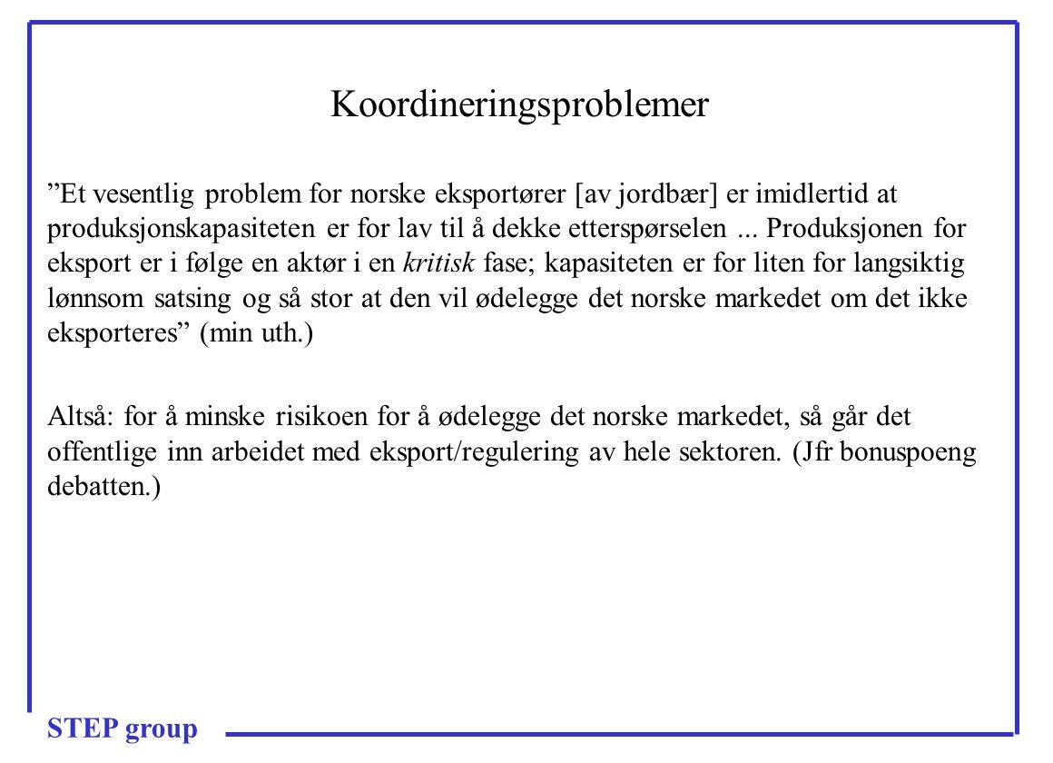 Koordineringsproblemer Et vesentlig problem for norske eksportører [av jordbær] er imidlertid at produksjonskapasiteten er for lav til å dekke etterspørselen...
