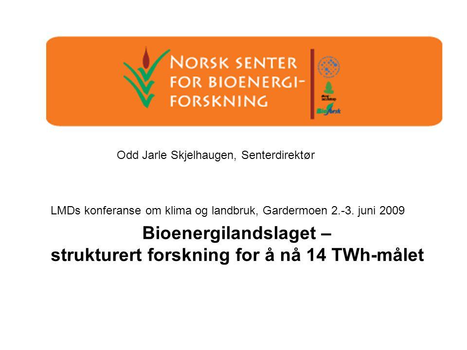 Odd Jarle Skjelhaugen, Senterdirektør Bioenergilandslaget – strukturert forskning for å nå 14 TWh-målet LMDs konferanse om klima og landbruk, Gardermoen 2.-3.