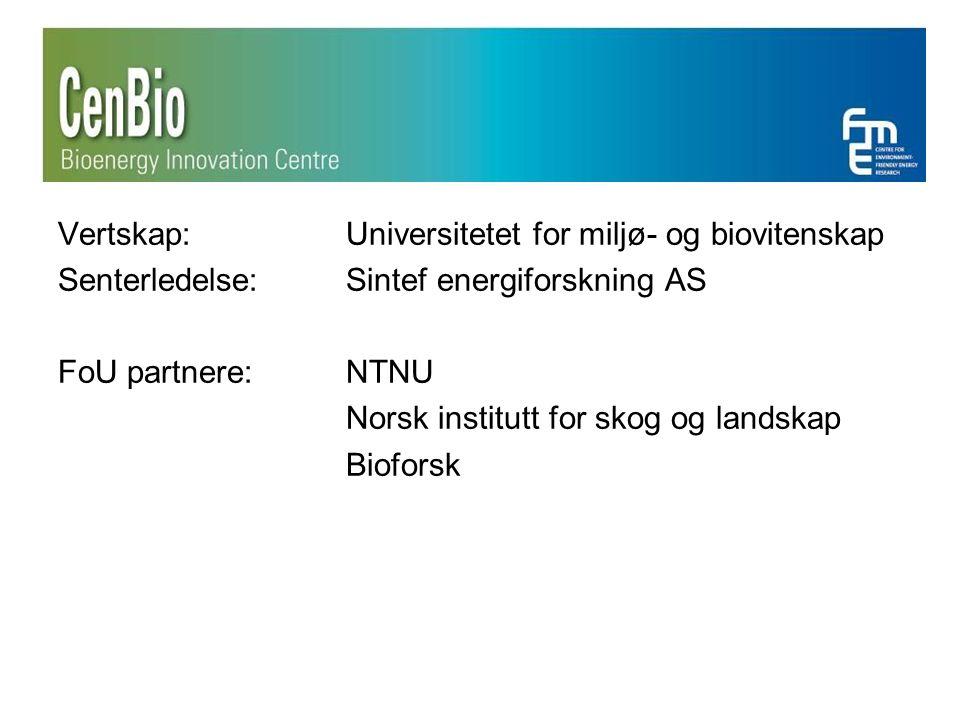 Vertskap: Universitetet for miljø- og biovitenskap Senterledelse: Sintef energiforskning AS FoU partnere: NTNU Norsk institutt for skog og landskap Bioforsk